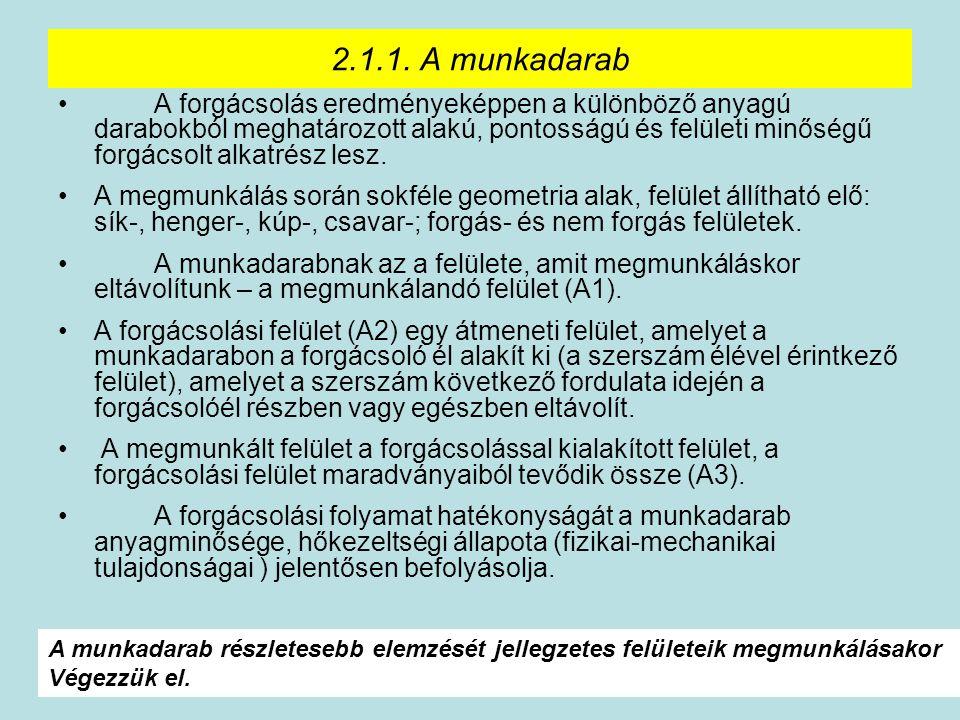 13 2.1.1. A munkadarab A forgácsolás eredményeképpen a különböző anyagú darabokból meghatározott alakú, pontosságú és felületi minőségű forgácsolt alk