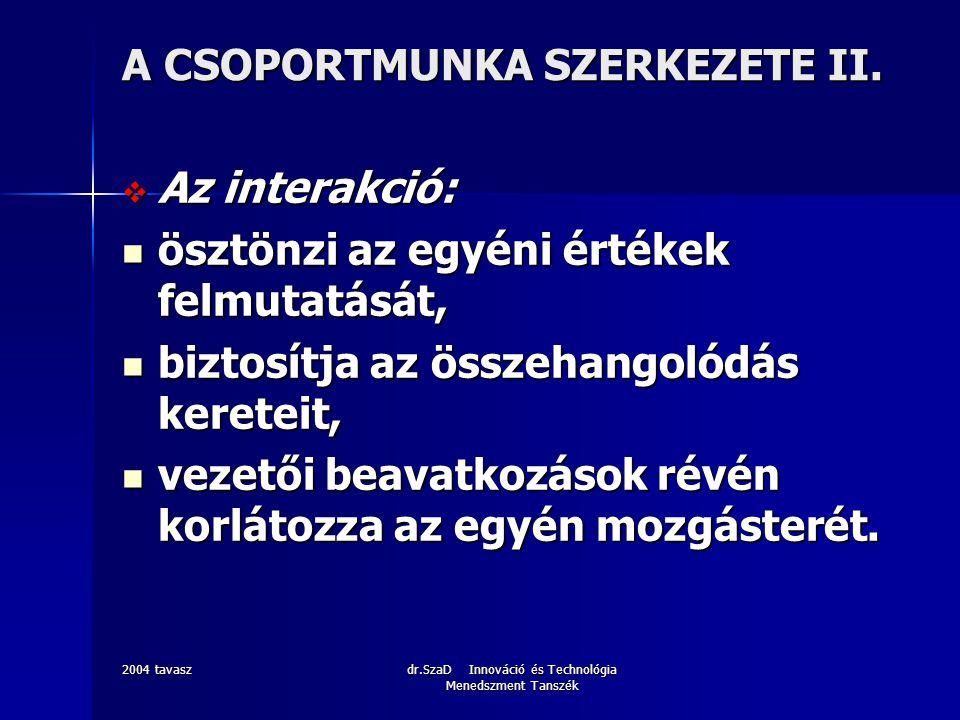 2004 tavaszdr.SzaD Innováció és Technológia Menedszment Tanszék A CSOPORTMUNKA SZERKEZETE II.