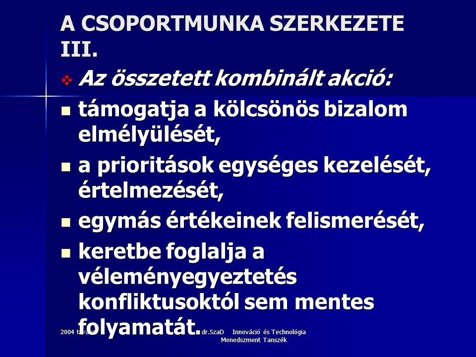 2004 tavaszdr.SzaD Innováció és Technológia Menedszment Tanszék A CSOPORTMUNKA SZERKEZETE III.