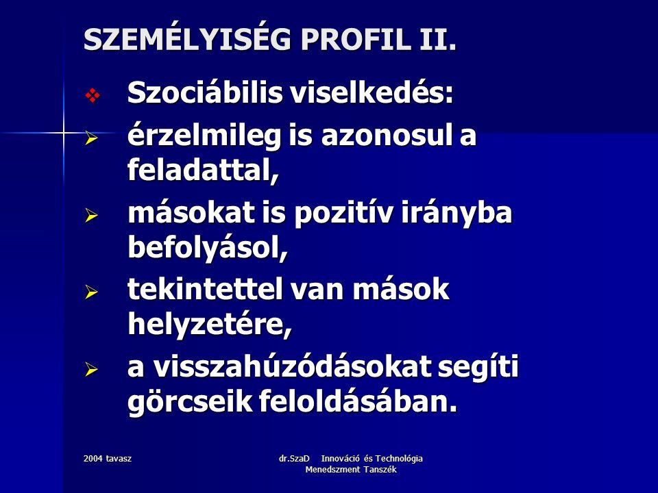 2004 tavaszdr.SzaD Innováció és Technológia Menedszment Tanszék SZEMÉLYISÉG PROFIL III.