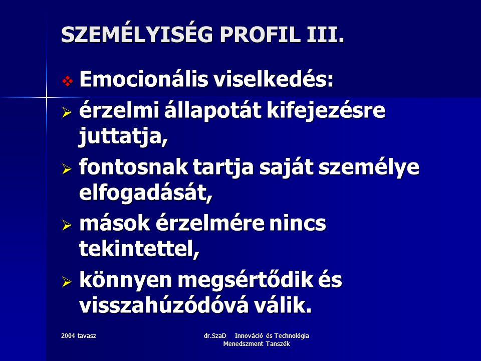 2004 tavaszdr.SzaD Innováció és Technológia Menedszment Tanszék SZEMÉLYISÉG PROFIL IV.