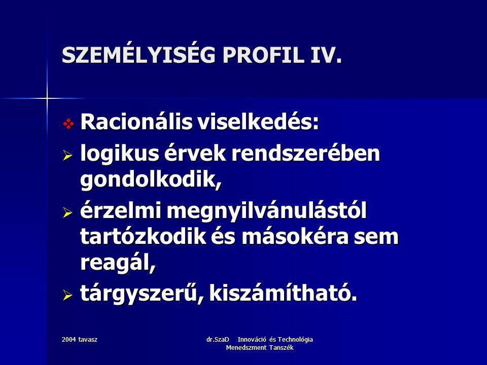 2004 tavaszdr.SzaD Innováció és Technológia Menedszment Tanszék SZEMÉLYISÉG PROFIL V.