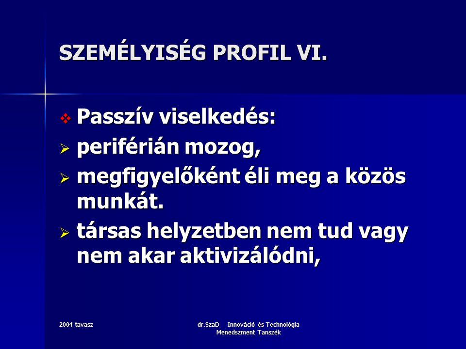 2004 tavaszdr.SzaD Innováció és Technológia Menedszment Tanszék SZEMÉLYISÉG PROFIL VI.