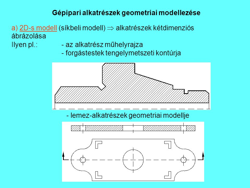 Gépipari alkatrészek geometriai modellezése a) 2D-s modell (síkbeli modell)  alkatrészek kétdimenziós ábrázolása Ilyen pl.: - az alkatrész műhelyrajz