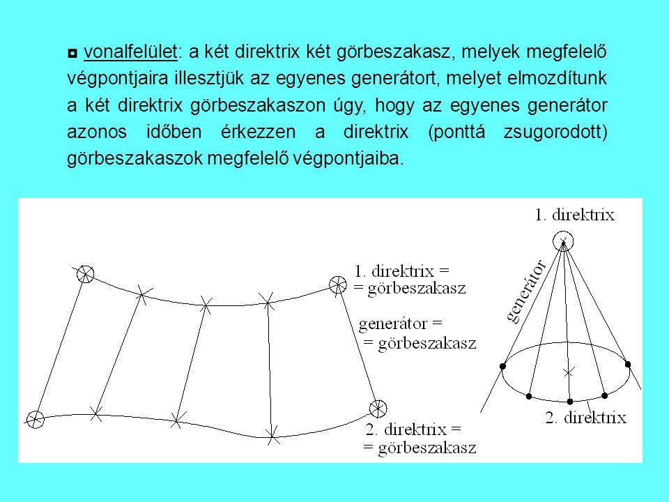 ◘ vonalfelület: a két direktrix két görbeszakasz, melyek megfelelő végpontjaira illesztjük az egyenes generátort, melyet elmozdítunk a két direktrix g