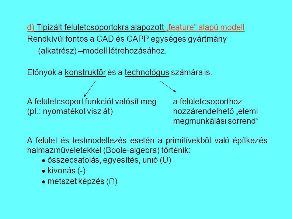 """d) Tipizált felületcsoportokra alapozott """"feature"""" alapú modell Rendkívül fontos a CAD és CAPP egységes gyártmány (alkatrész) –modell létrehozásához."""