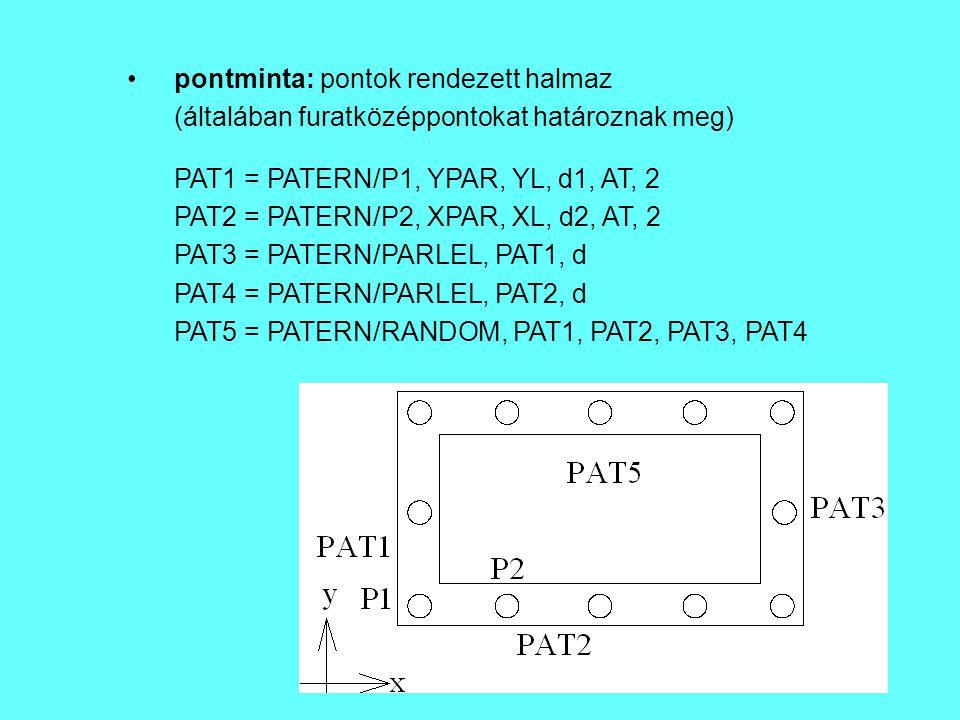 pontminta: pontok rendezett halmaz (általában furatközéppontokat határoznak meg) PAT1 = PATERN/P1, YPAR, YL, d1, AT, 2 PAT2 = PATERN/P2, XPAR, XL, d2,