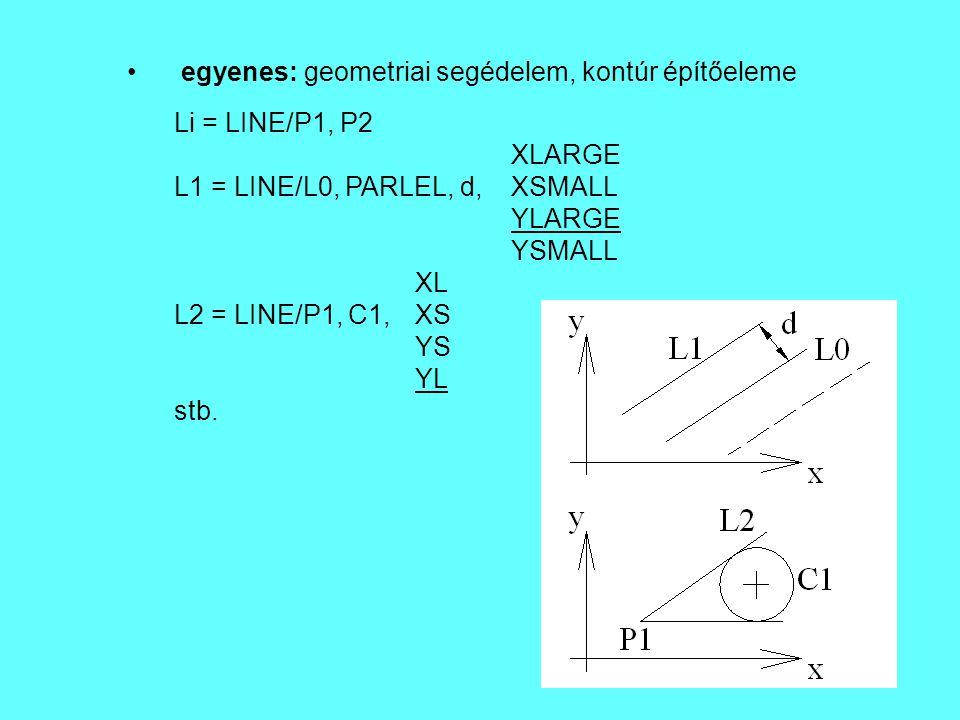 egyenes: geometriai segédelem, kontúr építőeleme Li = LINE/P1, P2 XLARGE L1 = LINE/L0, PARLEL, d, XSMALL YLARGE YSMALL XL L2 = LINE/P1, C1, XS YS YL s