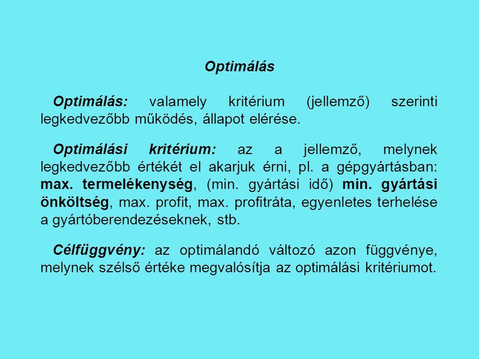 Optimálás Optimálás: valamely kritérium (jellemző) szerinti legkedvezőbb működés, állapot elérése. Optimálási kritérium: az a jellemző, melynek legked