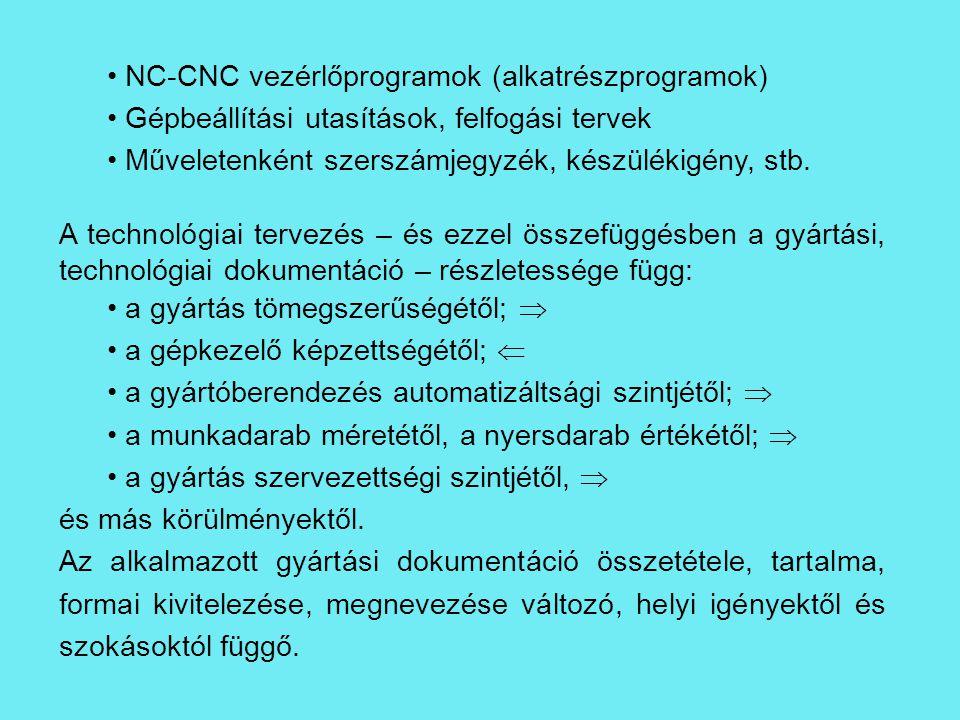 NC-CNC vezérlőprogramok (alkatrészprogramok) Gépbeállítási utasítások, felfogási tervek Műveletenként szerszámjegyzék, készülékigény, stb. A technológ