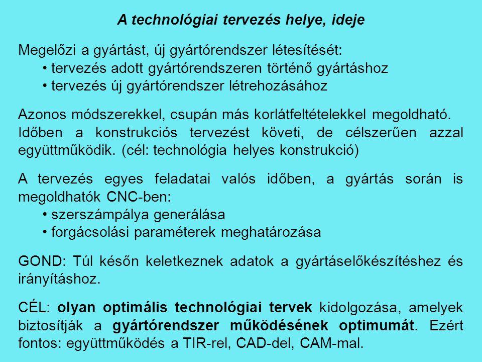 A technológiai tervezés helye, ideje Megelőzi a gyártást, új gyártórendszer létesítését: tervezés adott gyártórendszeren történő gyártáshoz tervezés ú