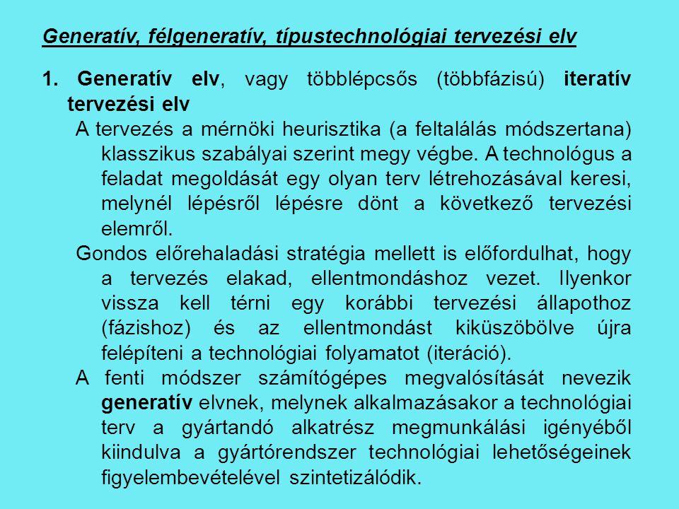 Generatív, félgeneratív, típustechnológiai tervezési elv 1. Generatív elv, vagy többlépcsős (többfázisú) iteratív tervezési elv A tervezés a mérnöki h