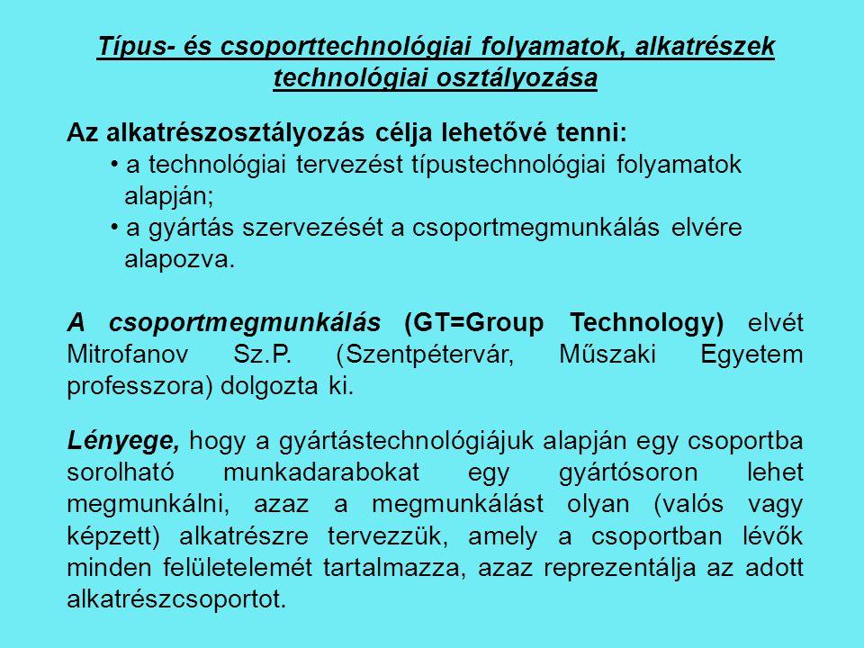 Típus- és csoporttechnológiai folyamatok, alkatrészek technológiai osztályozása Az alkatrészosztályozás célja lehetővé tenni: a technológiai tervezést