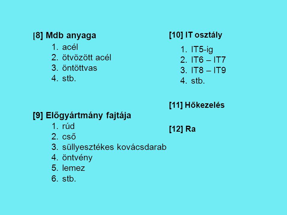 [ 8] Mdb anyaga [10] IT osztály [9] Előgyártmány fajtája [11] Hőkezelés [12] Ra 1.acél 2.ötvözött acél 3.öntöttvas 4.stb. 1.rúd 2.cső 3.süllyesztékes