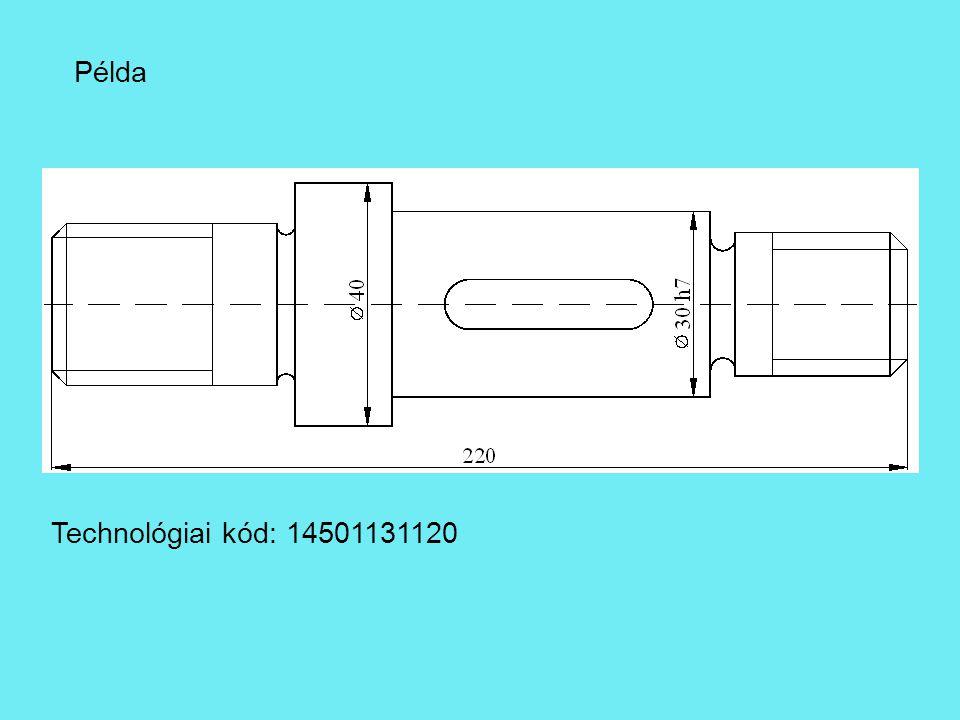 Példa Technológiai kód: 14501131120