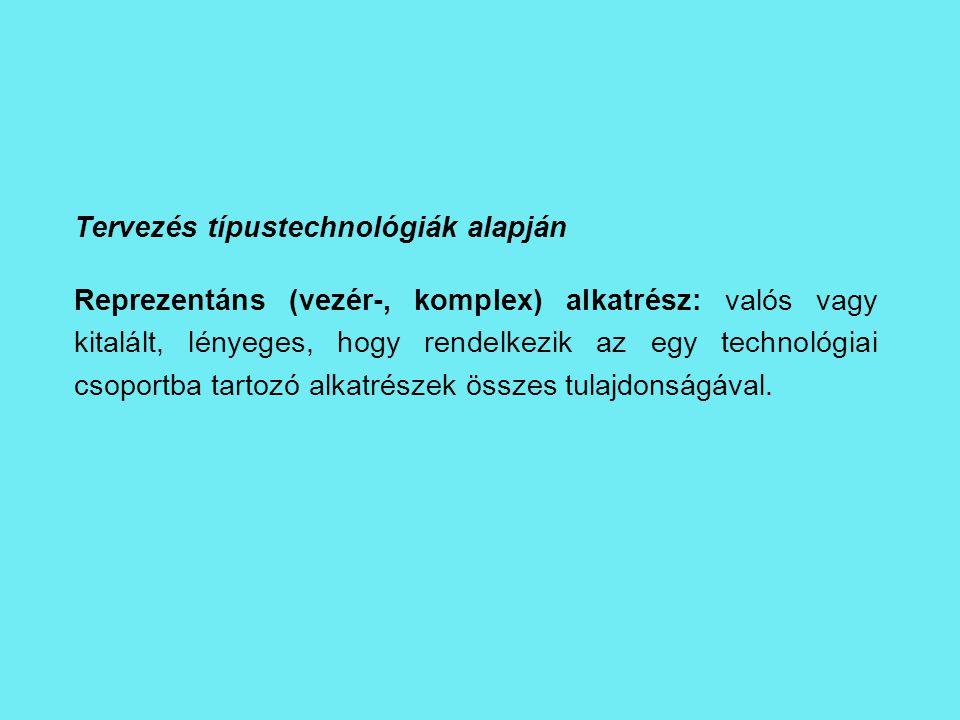 Tervezés típustechnológiák alapján Reprezentáns (vezér-, komplex) alkatrész: valós vagy kitalált, lényeges, hogy rendelkezik az egy technológiai csopo