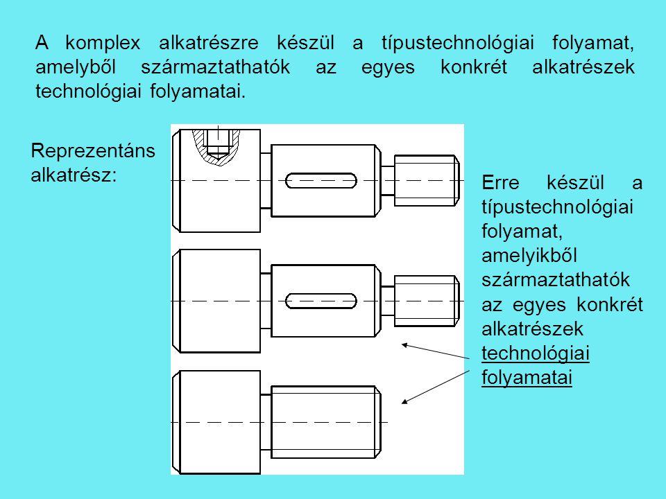 A komplex alkatrészre készül a típustechnológiai folyamat, amelyből származtathatók az egyes konkrét alkatrészek technológiai folyamatai. Erre készül