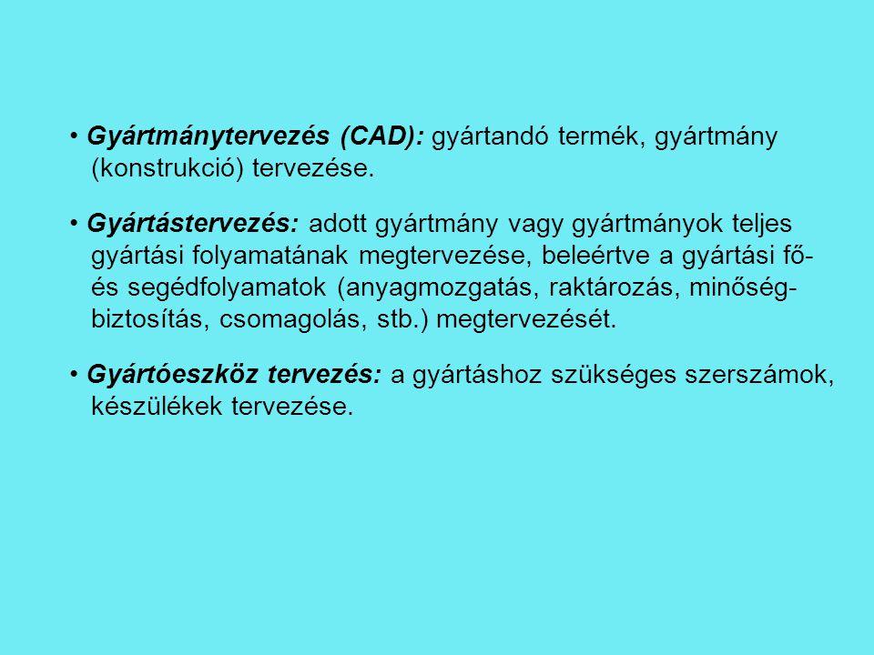 Gyártmánytervezés (CAD): gyártandó termék, gyártmány (konstrukció) tervezése. Gyártástervezés: adott gyártmány vagy gyártmányok teljes gyártási folyam