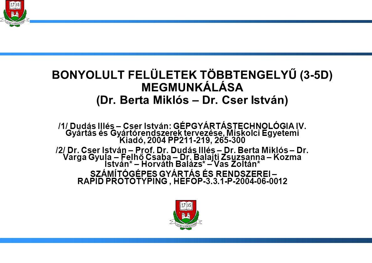 BONYOLULT FELÜLETEK TÖBBTENGELYŰ (3-5D) MEGMUNKÁLÁSA (Dr. Berta Miklós – Dr. Cser István) /1/ Dudás Illés – Cser István: GÉPGYÁRTÁSTECHNOLÓGIA IV. Gyá