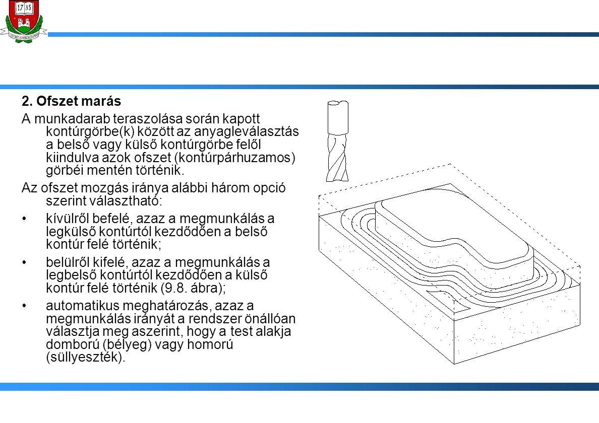 2. Ofszet marás A munkadarab teraszolása során kapott kontúrgörbe(k) között az anyagleválasztás a belső vagy külső kontúrgörbe felől kiindulva azok of