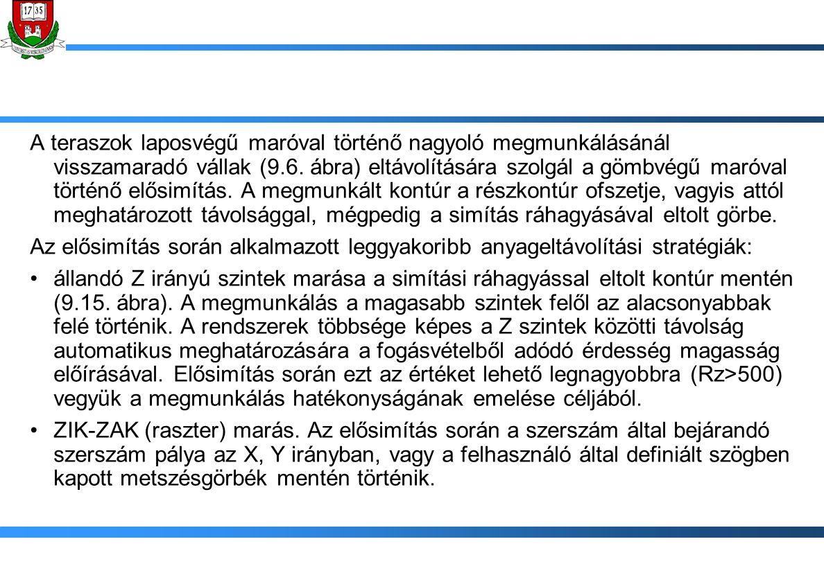 A teraszok laposvégű maróval történő nagyoló megmunkálásánál visszamaradó vállak (9.6. ábra) eltávolítására szolgál a gömbvégű maróval történő elősimí