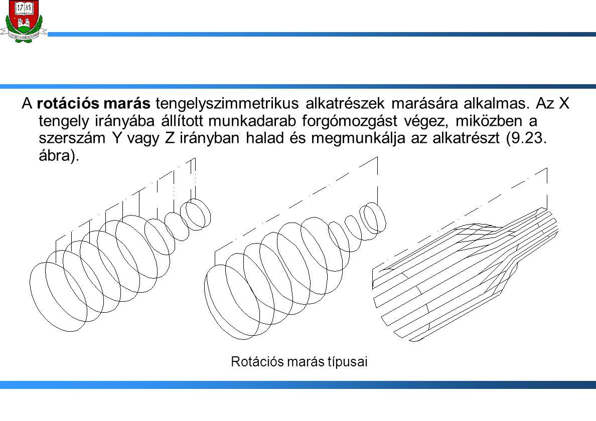 A rotációs marás tengelyszimmetrikus alkatrészek marására alkalmas. Az X tengely irányába állított munkadarab forgómozgást végez, miközben a szerszám