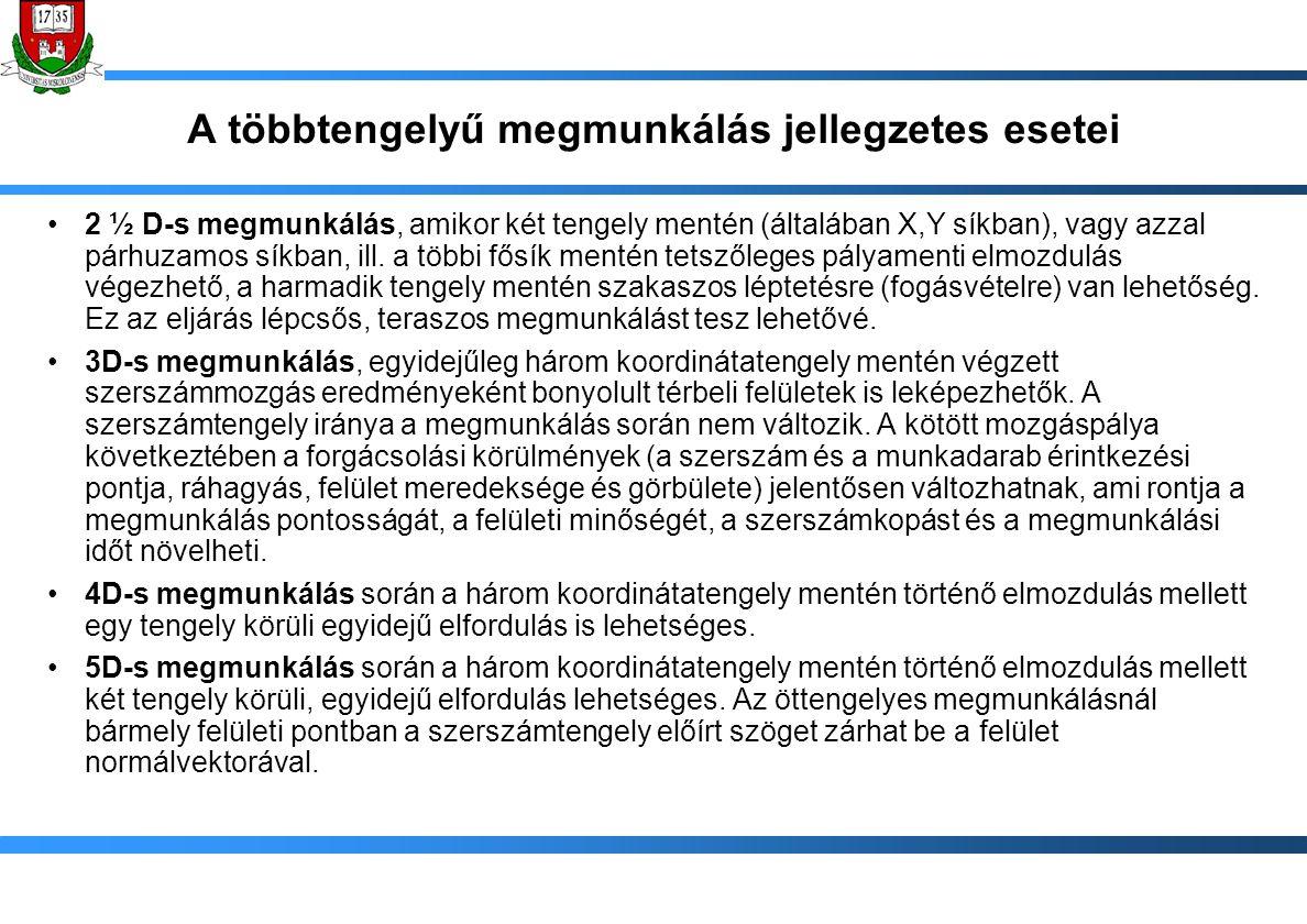 Szerszámpálya editálása pályaszegmensek összekötése: raszter pályák végeinek, ill.