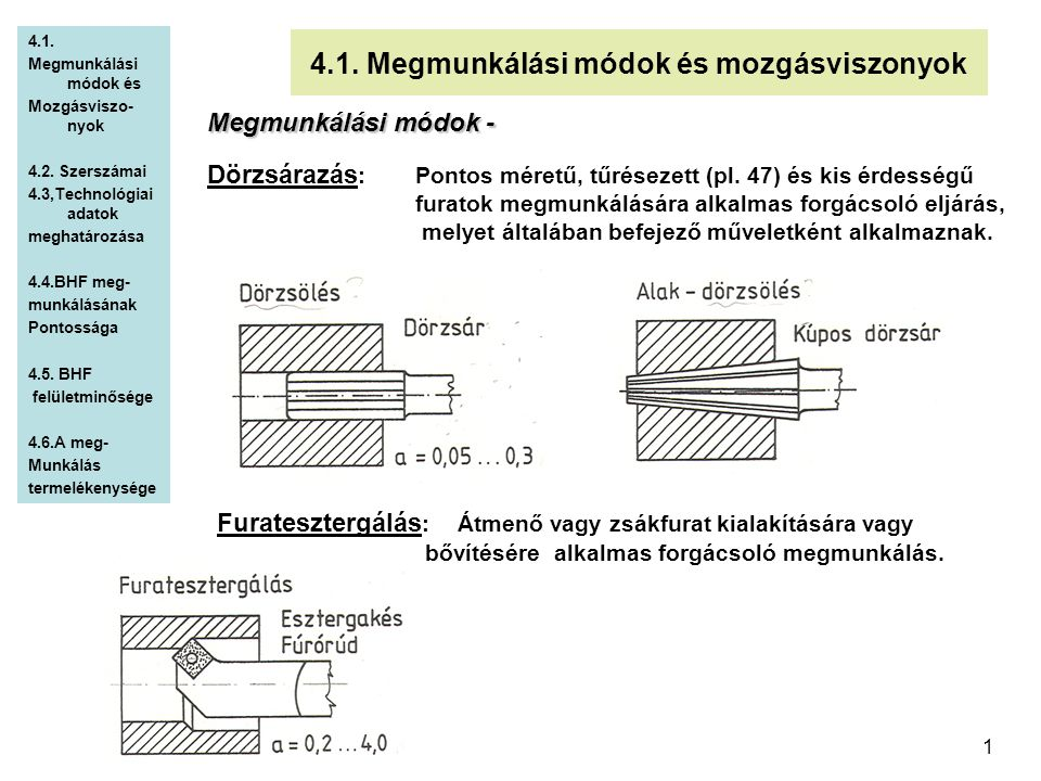 1 4.1. Megmunkálási módok és mozgásviszonyok Megmunkálási módok - Dörzsárazás :Pontos méretű, tűrésezett (pl. 47) és kis érdességű furatok megmunkálás