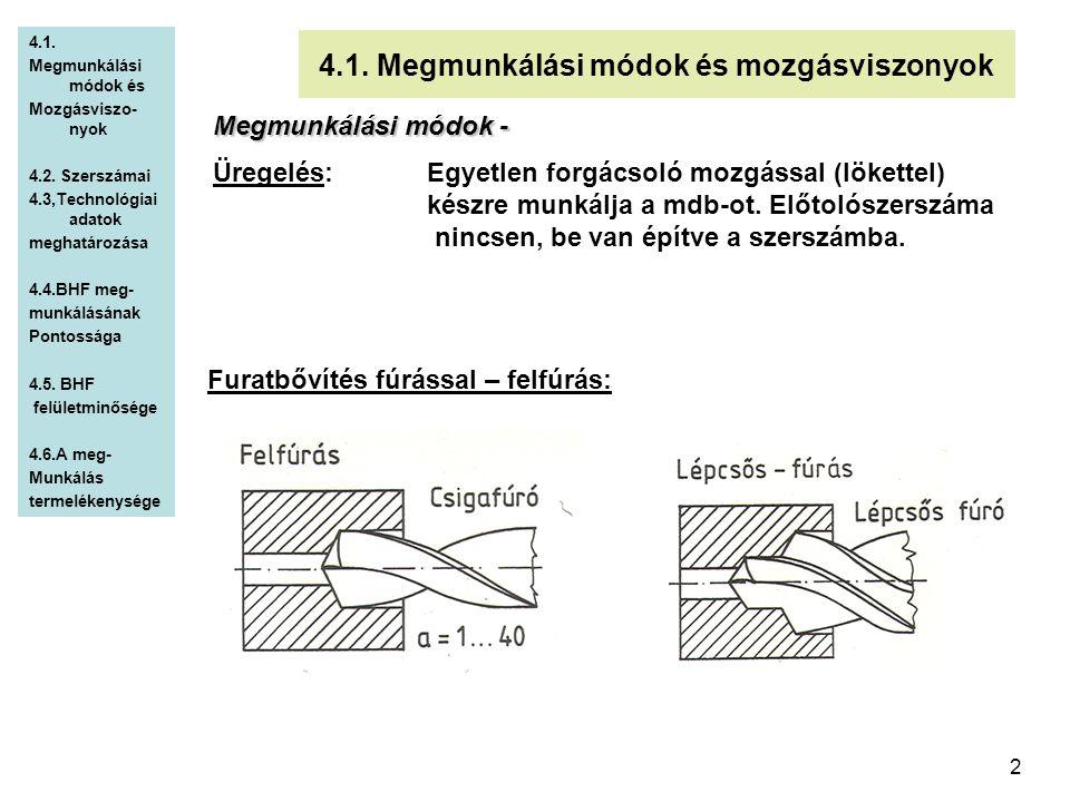 2 4.1. Megmunkálási módok és mozgásviszonyok Megmunkálási módok - Üregelés: Egyetlen forgácsoló mozgással (lökettel) készre munkálja a mdb-ot. Előtoló