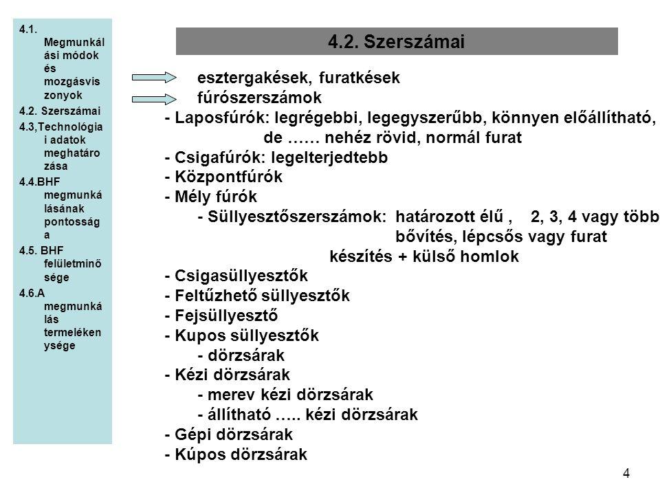 4 4.2. Szerszámai 4.1. Megmunkál ási módok és mozgásvis zonyok 4.2. Szerszámai 4.3,Technológia i adatok meghatáro zása 4.4.BHF megmunká lásának pontos