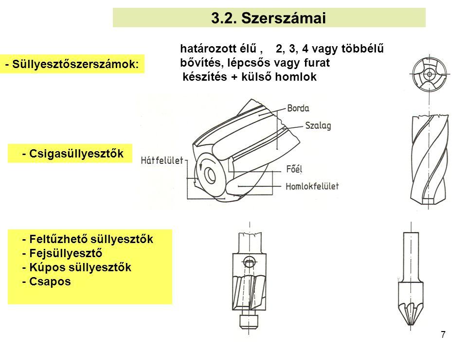 7 határozott élű, 2, 3, 4 vagy többélű bővítés, lépcsős vagy furat készítés + külső homlok 3.2. Szerszámai - Süllyesztőszerszámok: - Feltűzhető süllye