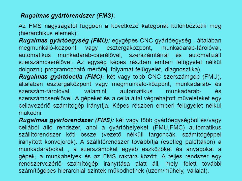 Rugalmas gyártórendszer (FMS): Az FMS nagyságától függően a következő kategóriát különböztetik meg (hierarchikus elemek): Rugalmas gyártóegység (FMU):