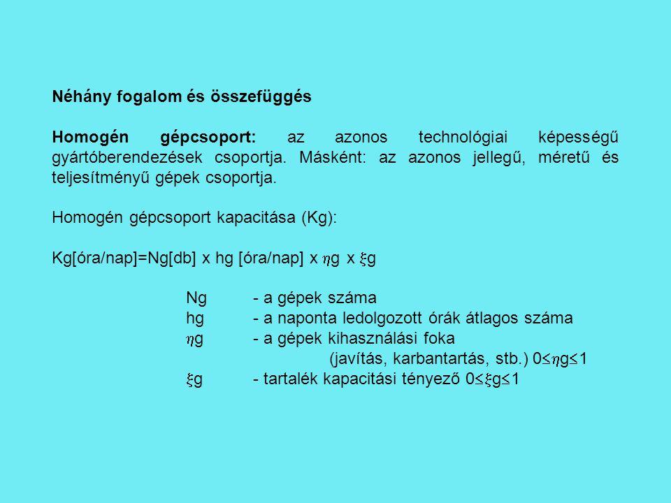 Néhány fogalom és összefüggés Homogén gépcsoport: az azonos technológiai képességű gyártóberendezések csoportja. Másként: az azonos jellegű, méretű és