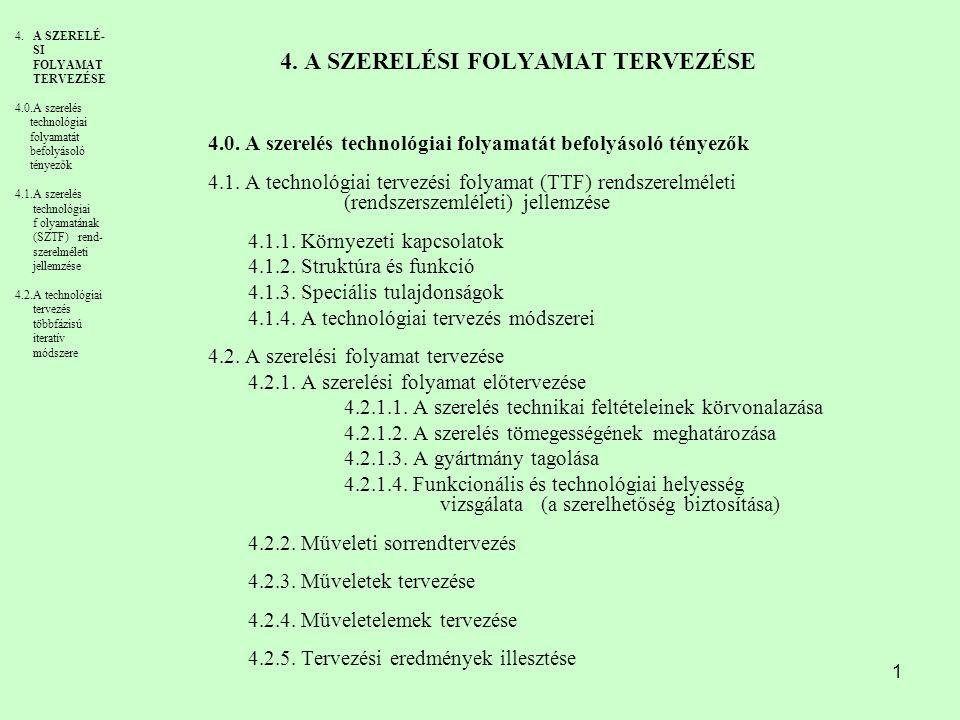 1 4. A SZERELÉSI FOLYAMAT TERVEZÉSE 4.0. A szerelés technológiai folyamatát befolyásoló tényezők 4.1. A technológiai tervezési folyamat (TTF) rendszer