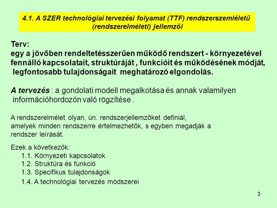 3 4.1. A SZER technológiai tervezési folyamat (TTF) rendszerszemléletű (rendszerelméleti) jellemzői Terv: egy a jövőben rendeltetésszerűen működő rend