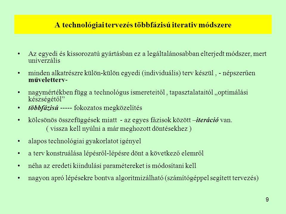 9 A technológiai tervezés többfázisú iterativ módszere Az egyedi és kissorozatú gyártásban ez a legáltalánosabban elterjedt módszer, mert univerzális