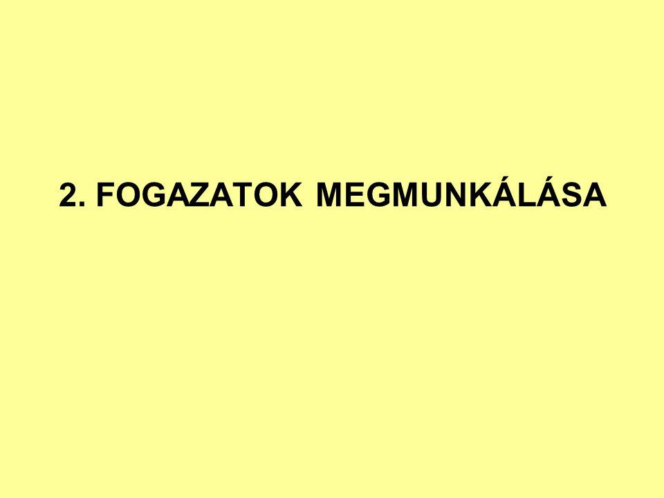 2. FOGAZATOK MEGMUNKÁLÁSA