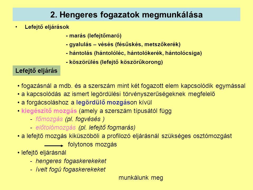 2. Hengeres fogazatok megmunkálása Lefejtő eljárások - marás (lefejtőmaró) - gyalulás – vésés (fésűskés, metszőkerék) - hántolás (hántolóléc, hántolók