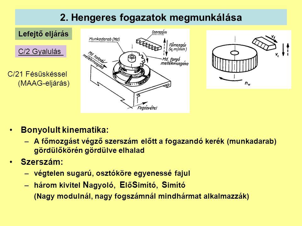2. Hengeres fogazatok megmunkálása Lefejtő eljárás C/2 Gyalulás C/21 Fésűskéssel (MAAG-eljárás) Bonyolult kinematika: –A főmozgást végző szerszám előt