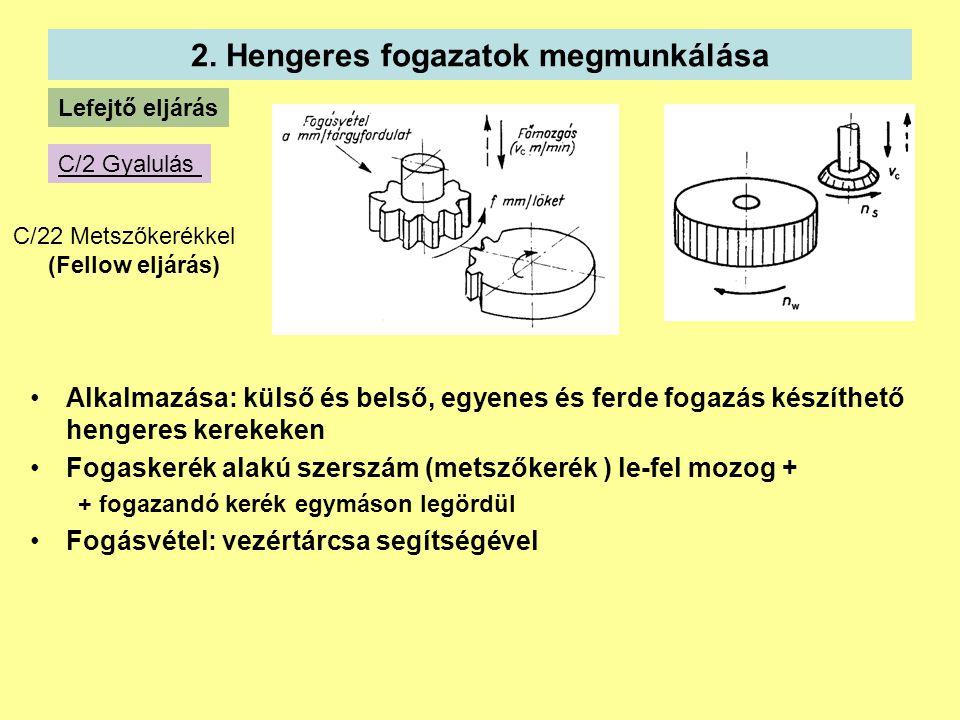 2. Hengeres fogazatok megmunkálása Lefejtő eljárás C/2 Gyalulás C/22 Metszőkerékkel (Fellow eljárás) Alkalmazása: külső és belső, egyenes és ferde fog