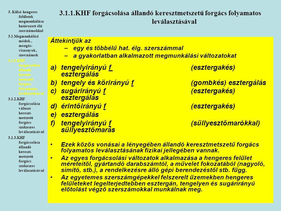 6 3.1.1.KHF forgácsolása állandó keresztmetszetű forgács folyamatos leválasztásával 3. Külső hengeres felületek megmunkálása határozott élű szerszámok