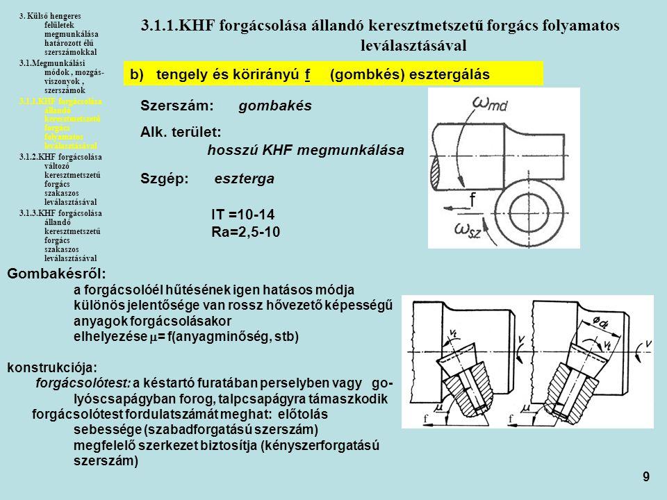 9 3.1.1.KHF forgácsolása állandó keresztmetszetű forgács folyamatos leválasztásával 3. Külső hengeres felületek megmunkálása határozott élű szerszámok