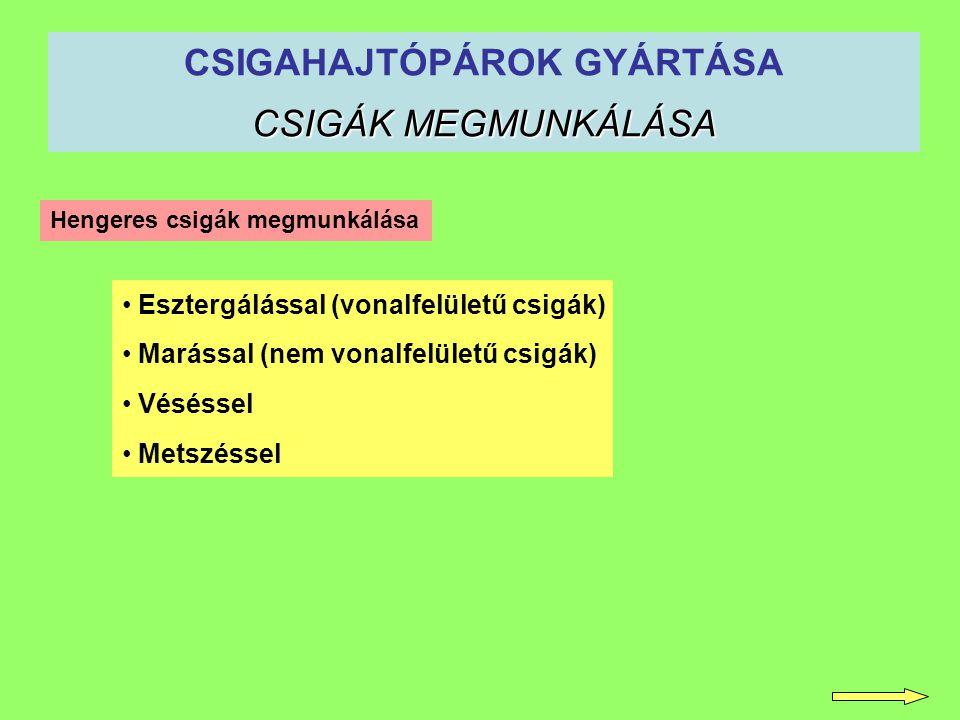 CSIGÁK MEGMUNKÁLÁSA CSIGAHAJTÓPÁROK GYÁRTÁSA CSIGÁK MEGMUNKÁLÁSA Esztergálással (vonalfelületű csigák) Marással (nem vonalfelületű csigák) Véséssel Me