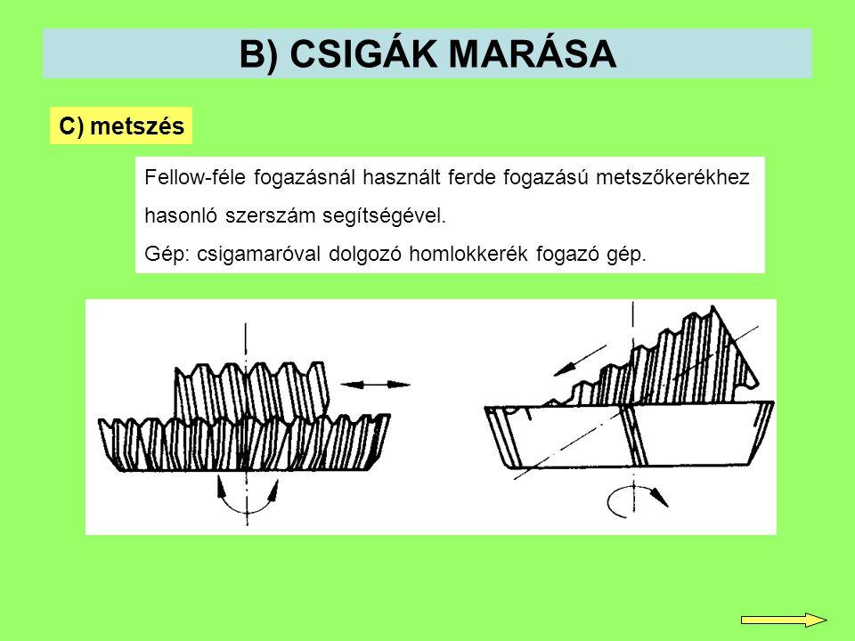 B) CSIGÁK MARÁSA C) metszés Fellow-féle fogazásnál használt ferde fogazású metszőkerékhez hasonló szerszám segítségével. Gép: csigamaróval dolgozó hom