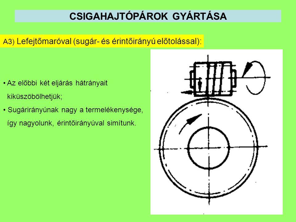 CSIGAHAJTÓPÁROK GYÁRTÁSA A3) Lefejtőmaróval (sugár- és érintőirányú előtolással): Az előbbi két eljárás hátrányait kiküszöbölhetjük; Sugárirányúnak na