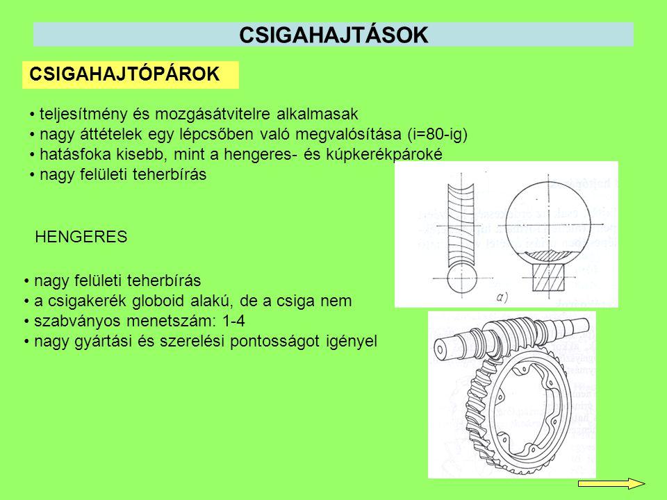 CSIGAHAJTÓPÁROK HENGERES CSIGAHAJTÁSOK teljesítmény és mozgásátvitelre alkalmasak nagy áttételek egy lépcsőben való megvalósítása (i=80-ig) hatásfoka kisebb, mint a hengeres- és kúpkerékpároké nagy felületi teherbírás a csigakerék globoid alakú, de a csiga nem szabványos menetszám: 1-4 nagy gyártási és szerelési pontosságot igényel