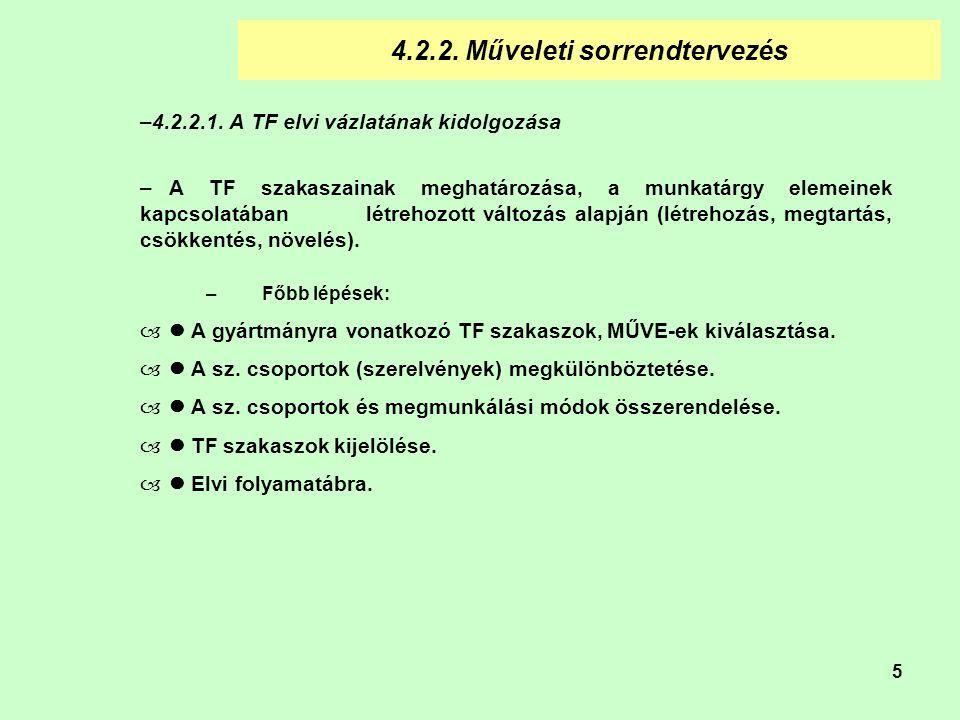 5 4.2.2.Műveleti sorrendtervezés –4.2.2.1.