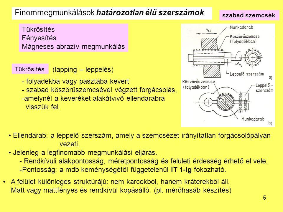 5 Tükrösítés Fényesítés Mágneses abrazív megmunkálás - folyadékba vagy pasztába kevert - szabad köszörűszemcsével végzett forgácsolás, -amelynél a keveréket alakátvivő ellendarabra visszük fel.