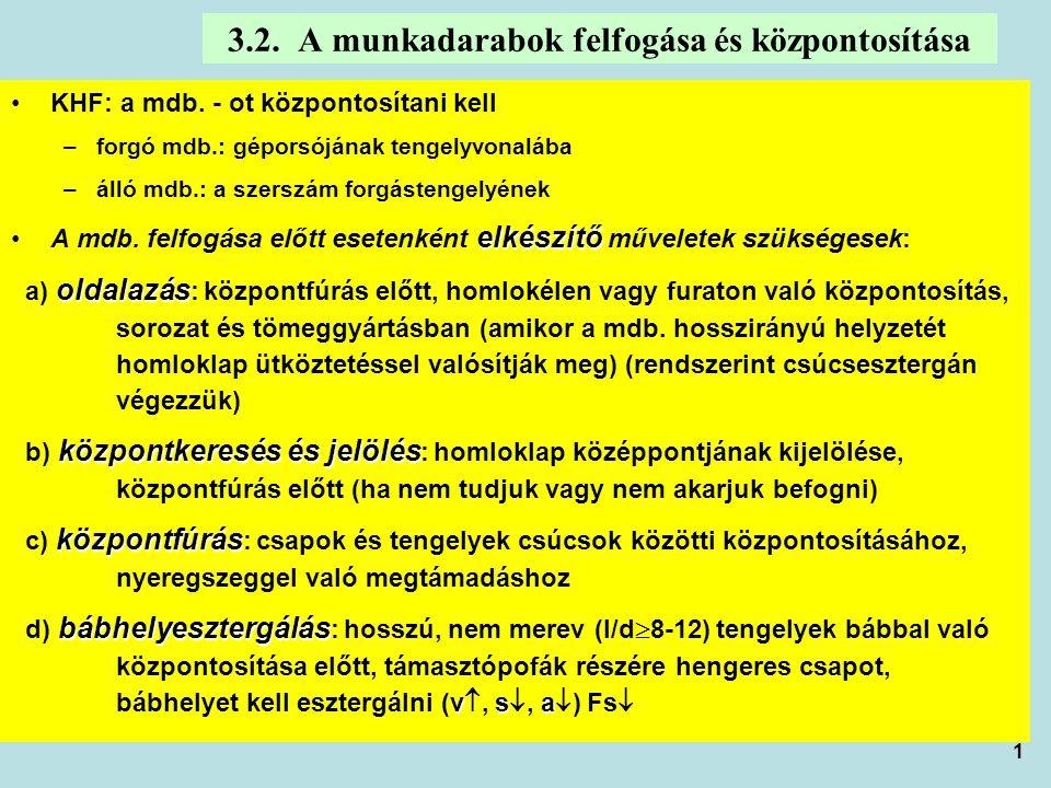 1 3.2. A munkadarabok felfogása és központosítása KHF: a mdb. - ot központosítani kell –forgó mdb.: géporsójának tengelyvonalába –álló mdb.: a szerszá