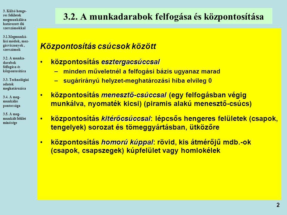 2 3.2. A munkadarabok felfogása és központosítása 3. Külső henge- res felületek megmunkálása határozott élű szerszámokkal 3.1.Megmunká- lási módok, mo